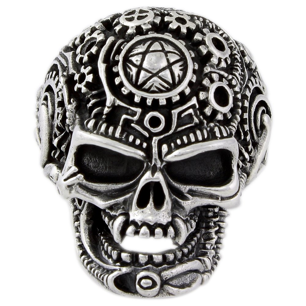CloseoutWarehouse Wicca Pentagram Occult Skull Ring Sterling Silver 925 Size 6