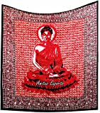 Amitus Exports(TM) Premium Quality 1 X Meditating Sitting Buddha 88''x82''(Approx.) Inches Red Pink Multi Color Queen Size Cotton Fabric Tapestry Hippy Indian Mandala Throws (Handmade In India)