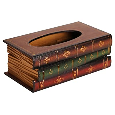 Elegant Hand Crafted Wooden Scholar's Antique Book Tissue Box Dispenser