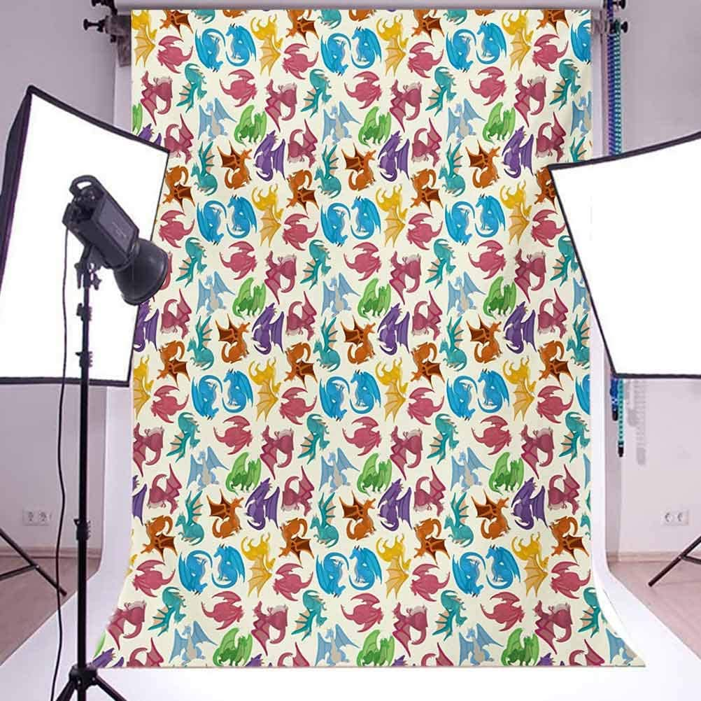 Dragon 10x15 FT Backdrop Photographers,Cartoon Style Design for Children Animal Pattern Colorful Dragons Artwork Print Background for Photography Kids Adult Photo Booth Video Shoot Vinyl Studio Props