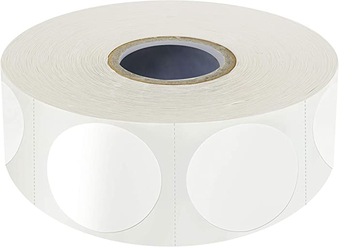 1500 PCS White Round Color Coding Circle Dots Inventory Stickers Labels with Perforation Line in Roll (Each Measures 1