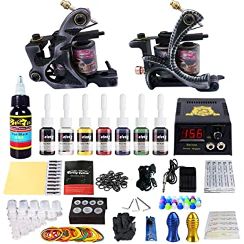 Solong Tattoo Complete Tattoo Kit 2 Pro Machine Guns 7 Inks Power Supply Foot Pedal Needles Grips