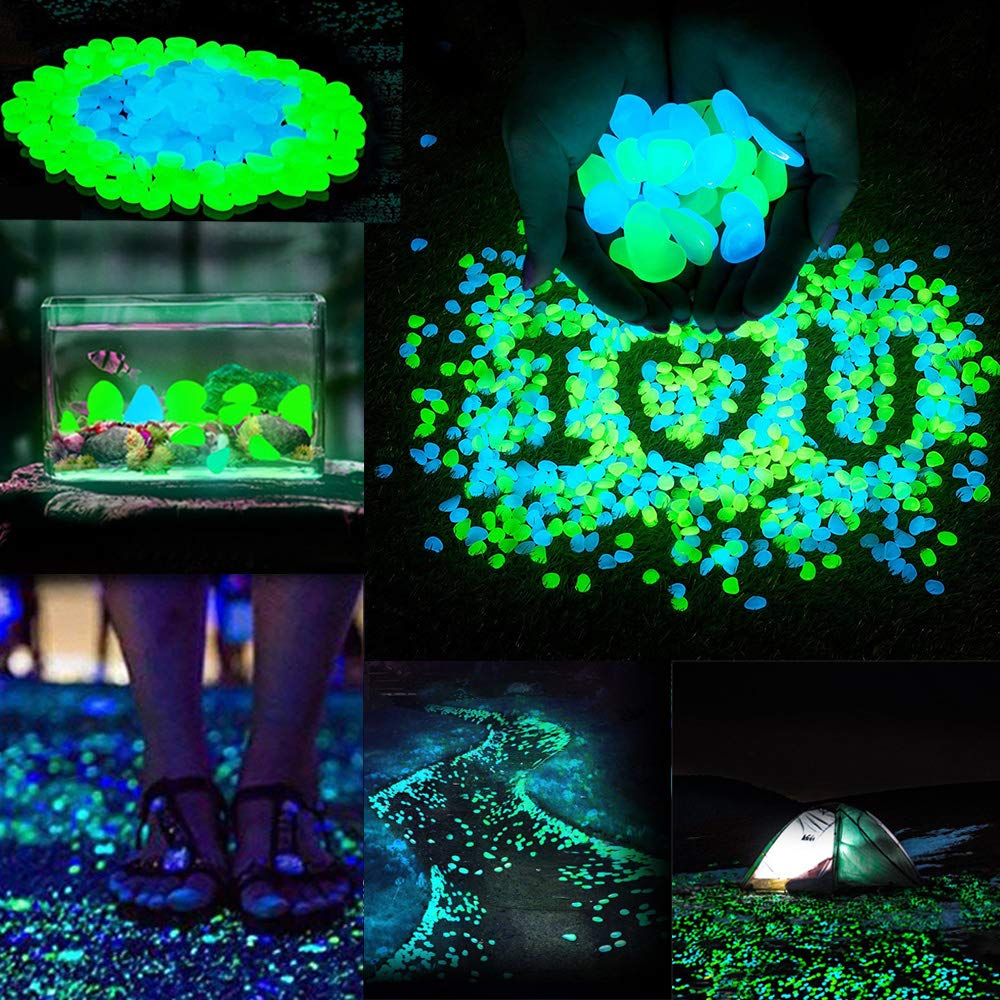 Sam4shine 200PCS Glow in The Dark Pebbles, Glow in The Dark Rocks for Outdoor Fairy Garden, Glowing Stones Decoration Gravel for Driveway, Fish Tank, Aquarium, Path, Lawn, Yard by Sam4shine