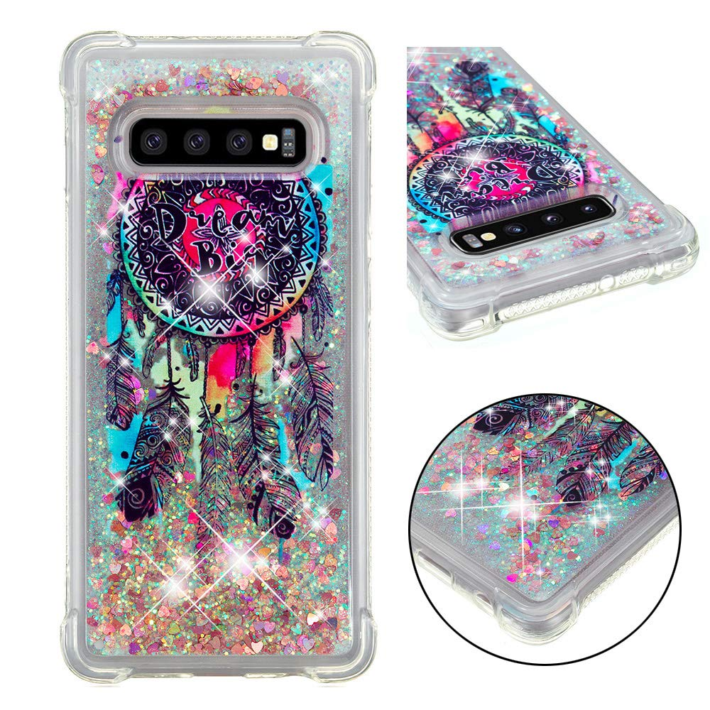 STENES Liquid Case Compatible with Samsung Galaxy S10 Plus 6.4 Inch - Glitter - Girls Women Series Dreamcatcher Design Shiny Sparkle Flowing Moving Shockproof PC Clear Shell Ultral Slim Cover - Black