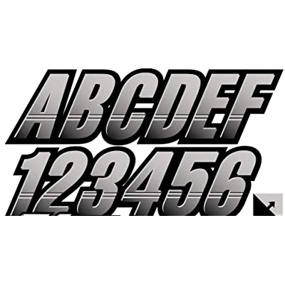 "Stiffie Techtron Silver/Black 3"" Alpha-Numeric Registration Identification Numbers Stickers Decals for Boats & Personal Watercraft: Automotive"