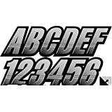 """Stiffie Techtron Silver/Black 3"""" Alpha-Numeric Registration Identification Numbers Stickers Decals for Boats & Personal…"""