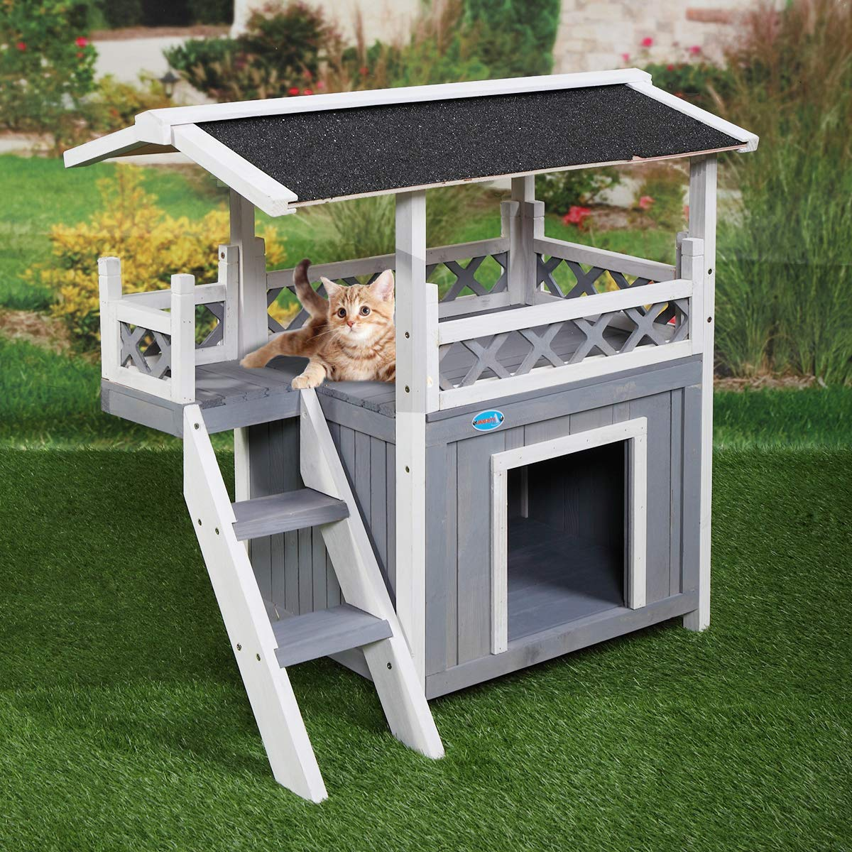 Tobbi Dog House Outdoor Shelter Roof Cat Condo Wood Steps Balcony Puppy Stairs Grey by Tobbi
