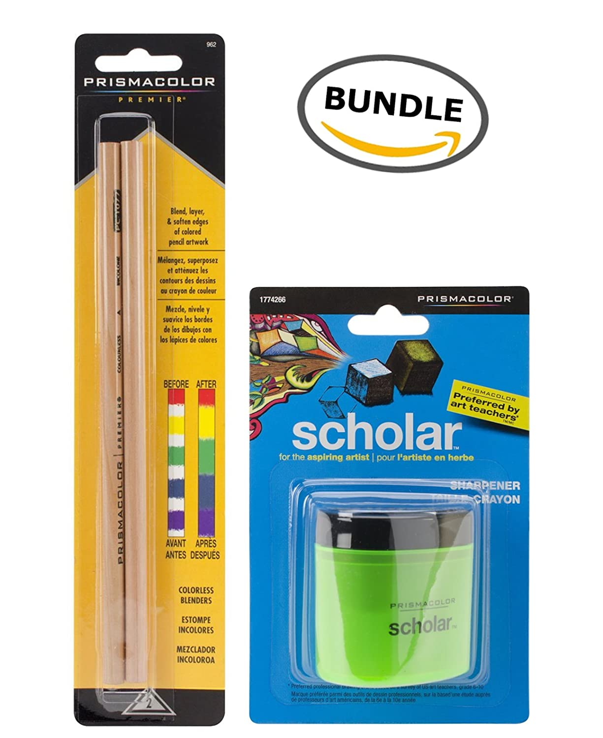 BUNDLE Prismacolor Scholar Colored Pencil Sharpener (1774266) + Prismacolor Blender Pencil Colorless, 2-pack (962)
