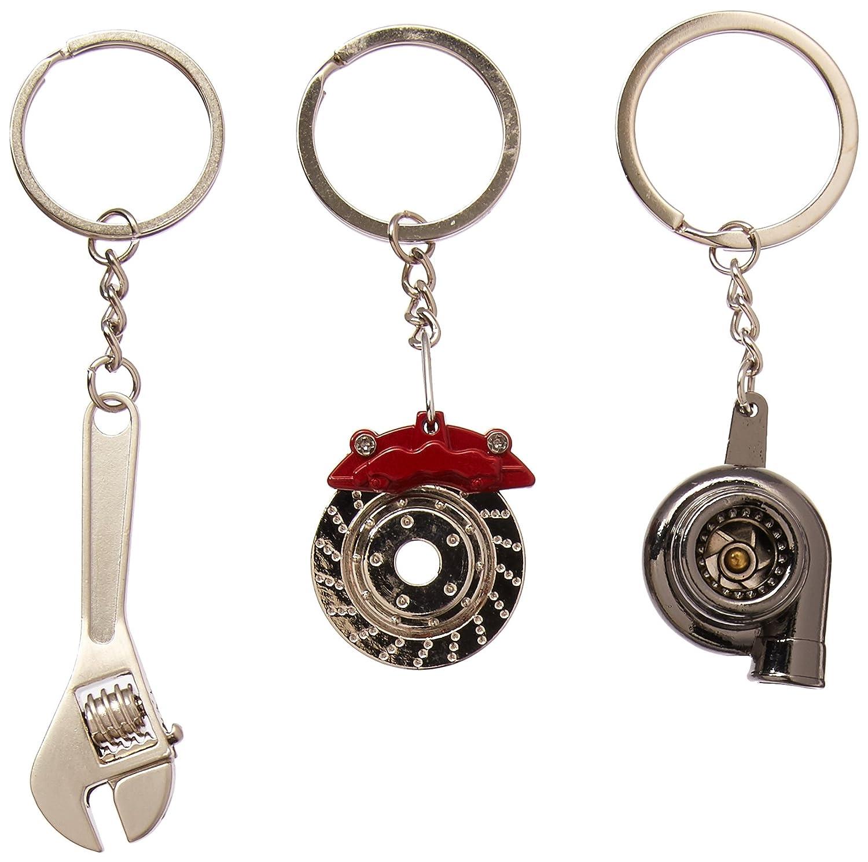 3-Pack Black Chrome Gunmetal Spinning Turbo Metal Keychain Free Lanyard Bonus