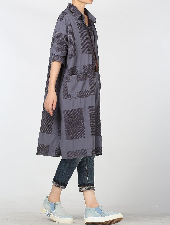 Vogstyle Damen Baumwoll Lang Bluse Plaid Shirt Kleid mit Zwei Taschen Taschen