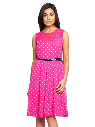 Baby Pink Color Dress With White Polka Dot And Black Belt Amazon In