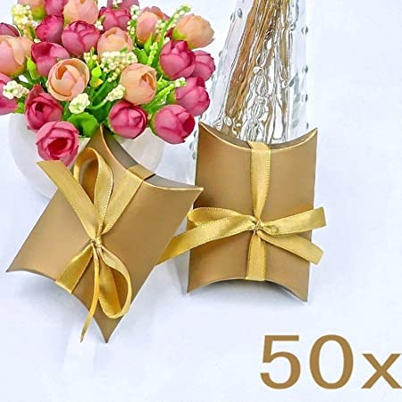 JZK 50 x Gold Pillow Shape Wedding