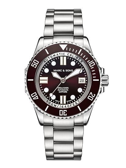 Marc & Sons 500 m buceo reloj marrón ETA 2824 – 2 Automático, cristal de