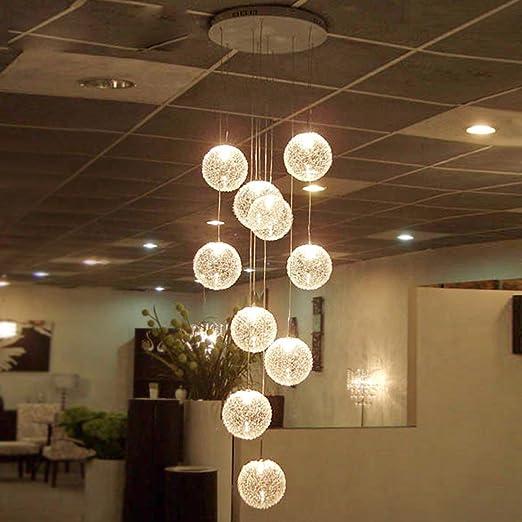 Maniny Lámparas de Escalera Lámpara de Techo del Comedor Moderno Arte Sala de Estar Lámpara Creativa Villa Duplex Lámpara de Escalera Giratorio Lámpara de Aluminio 10 Cabeza: Amazon.es: Hogar