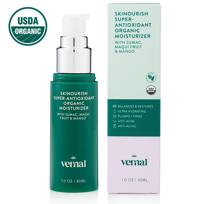 Vernal SKINourish – Organic Anti Aging Cream – With USDA Certified Organic Maqui Berry, Primrose Oil, Aloe w/ Vitamin E & C – Organic Skin Care Daily Moisturizer. – 1oz