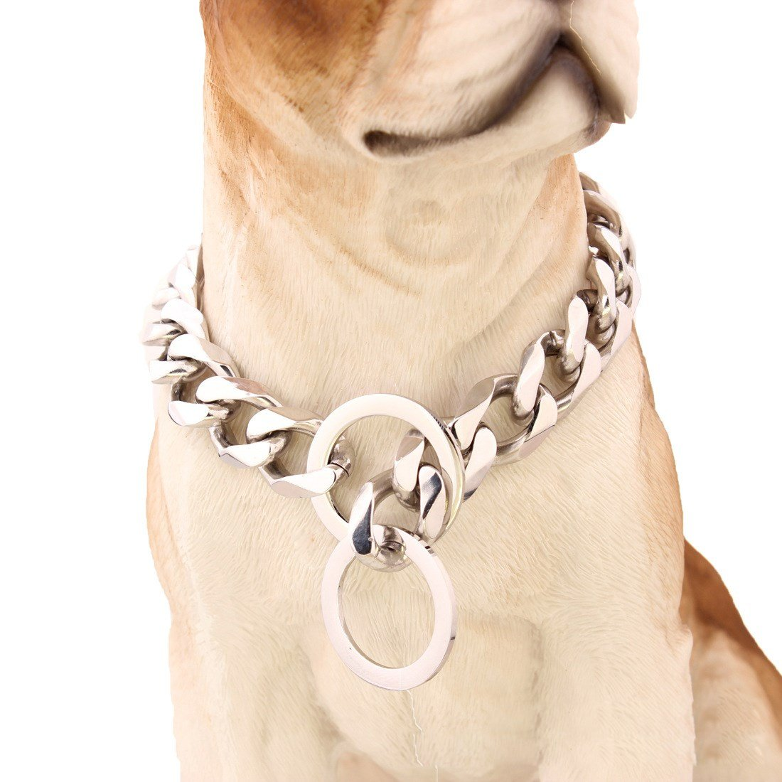 16 inch Pet Online Dog collar mirror polished stainless steel p chain titanium steel chain necklace pet dog training leash Tow Collar 19mm,16
