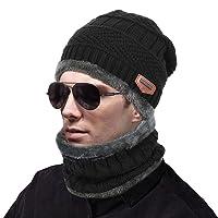MUCO Gorros hecho punto bufanda de dos piezas hombre mujer invierno cálido al aire libre