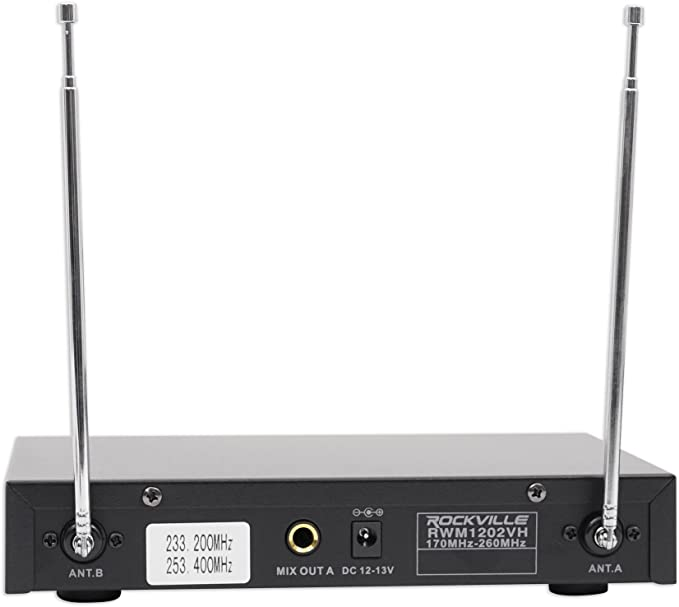 Rockville RWM1202VH VHF Wireless Dual HandHeld Microphone System,Metal Receiver