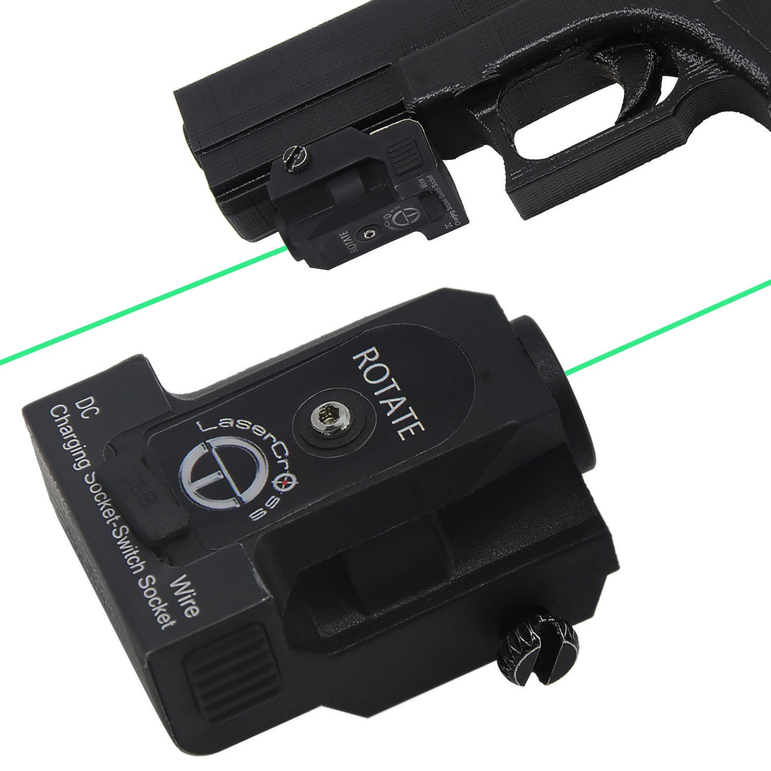 Lasercross Green Dot Laser Sight, Portable Compact Sight with 20mm Rail Picatinny On/Off Switch for Rifle Handgun Pistol Airsoft Air Soft Optic