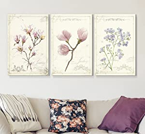 """wall26 3 Panel Canvas Wall Art - Vintage Style Purple Flowers - Giclee Print Gallery Wrap Modern Home Decor Ready to Hang - 16""""x24"""" x 3 Panels"""