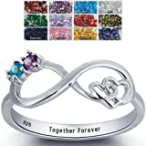 Infinity Promise Ring 2 Birthstones and 1 Engraving Customized and Personalized