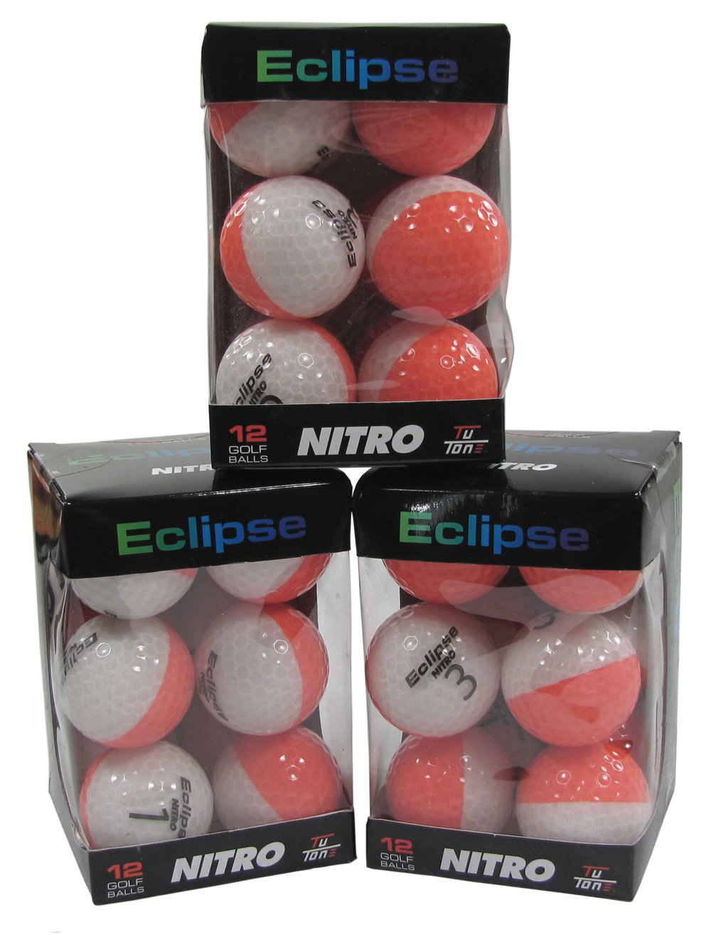 Nitro Golf エクリプス ゴルフボール (12個パック) コーラル/ホワイト   B0050LXZOM