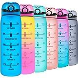 Elvira 32oz Motivational Water Bottle with Time Marker & Removable Fruit Infuser, Leakproof BPA Free Wide Mouth, Ensure…