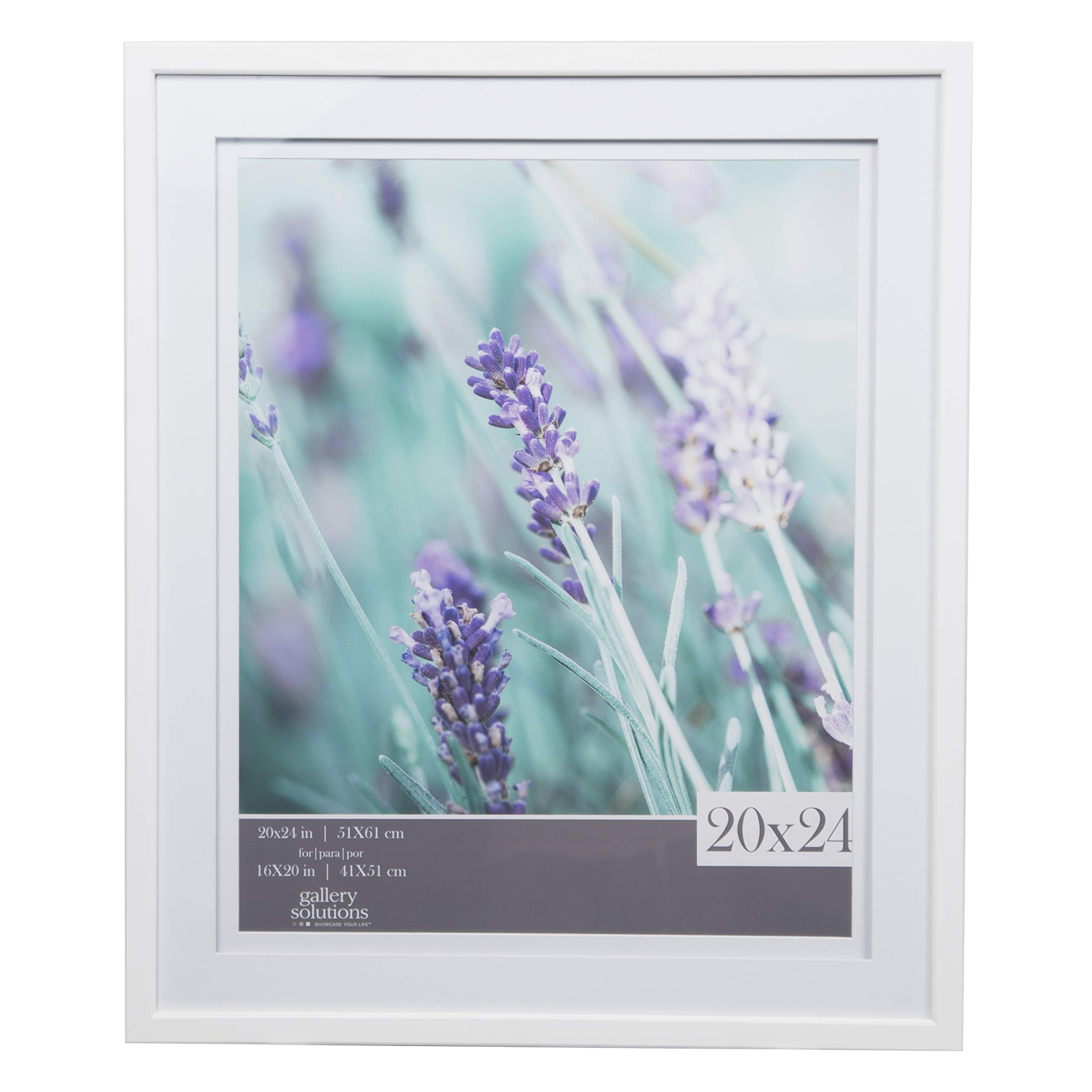 Gallery Solutions 20x24 White Wall Frame with Double White Mat For 16x20 Picture