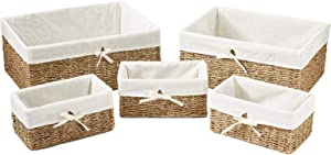 Americanflat Natural Hand-Woven Set of 5 Seagrass Storage Baskets with Removable Linen Liners - Nesting Storage Baskets with Linen Liners - Home Organizer Baskets - Natural Seagrass - Eco-Friendly