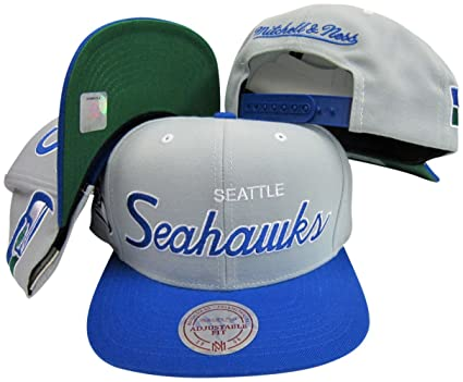 3225337e8 Image Unavailable. Image not available for. Color  Seattle Seahawks Mitchell    Ness Throwback Script 2 Tone Adjustable Snapback Hat