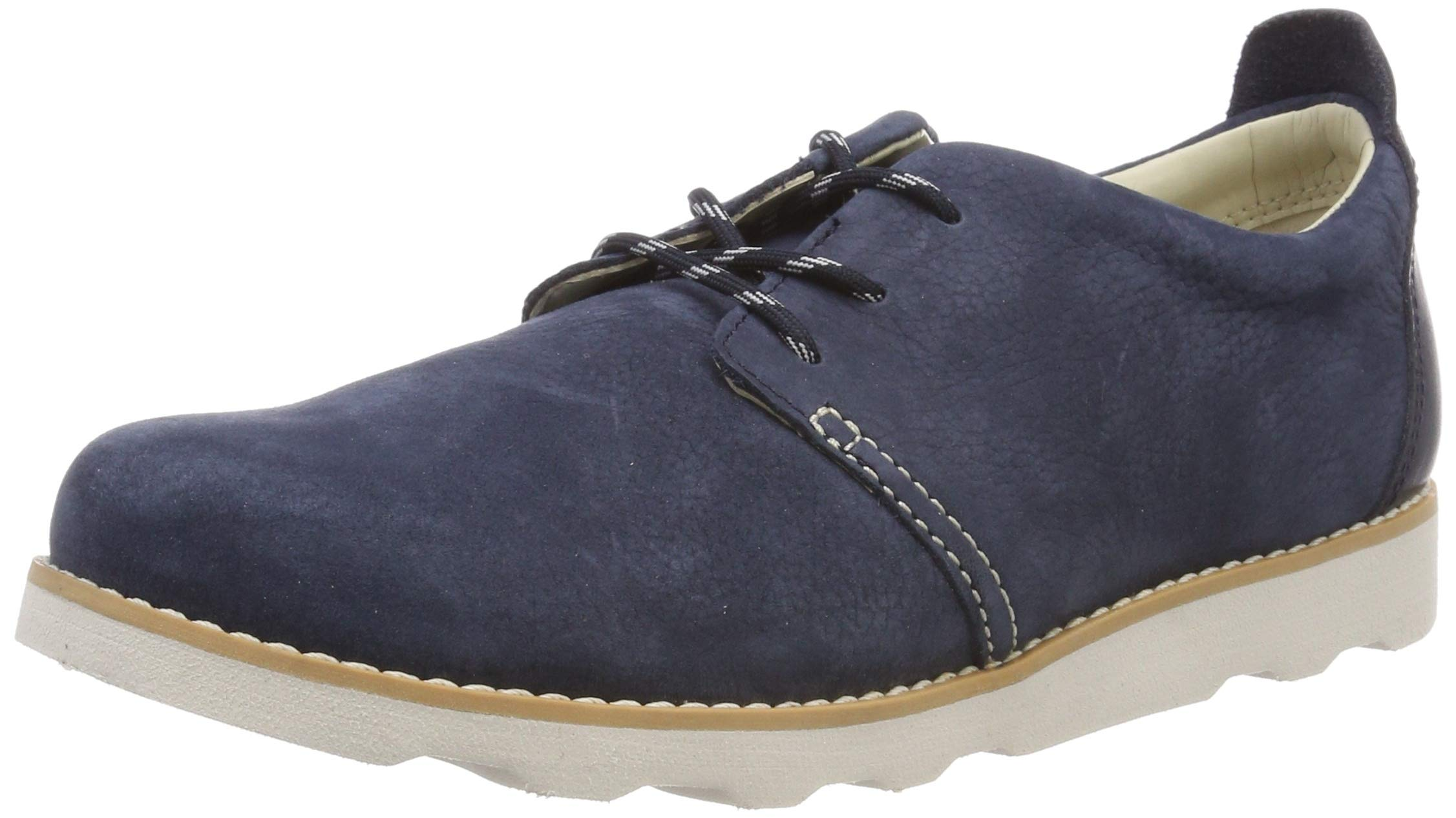 CLARKS Boys' Crown Park K Derbys, Blue (Navy Leather-), 2.5 UK