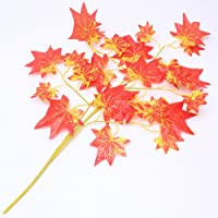 Jiamins 2Pcs Artificial Silk Maple Leaves Spray Fake Leaf Foliage Plant Home Decoration