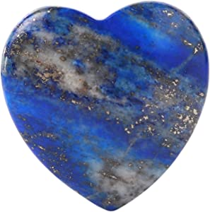 Bingcute Lapis Lazuli Heart Love Carved Palm Worry Stone 40mm (1.6