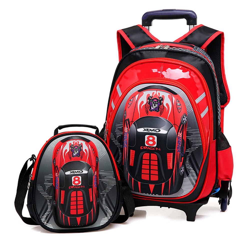 HIGOGOGO 3D Toy Car School Bag Wheels 2Pcs Trolley Set, Size:17'' 13'' 7''(HWT), 10'' 9'' 4''(HWT),Boys Girls 6 Wheels Rolling Backpack Lunch Bag Red
