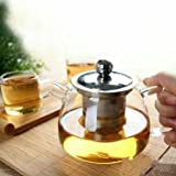 EZ Life Stylish Glass Tea Pot With Stainless Steel Filter & Lid -500ml-Borosilicate Glass
