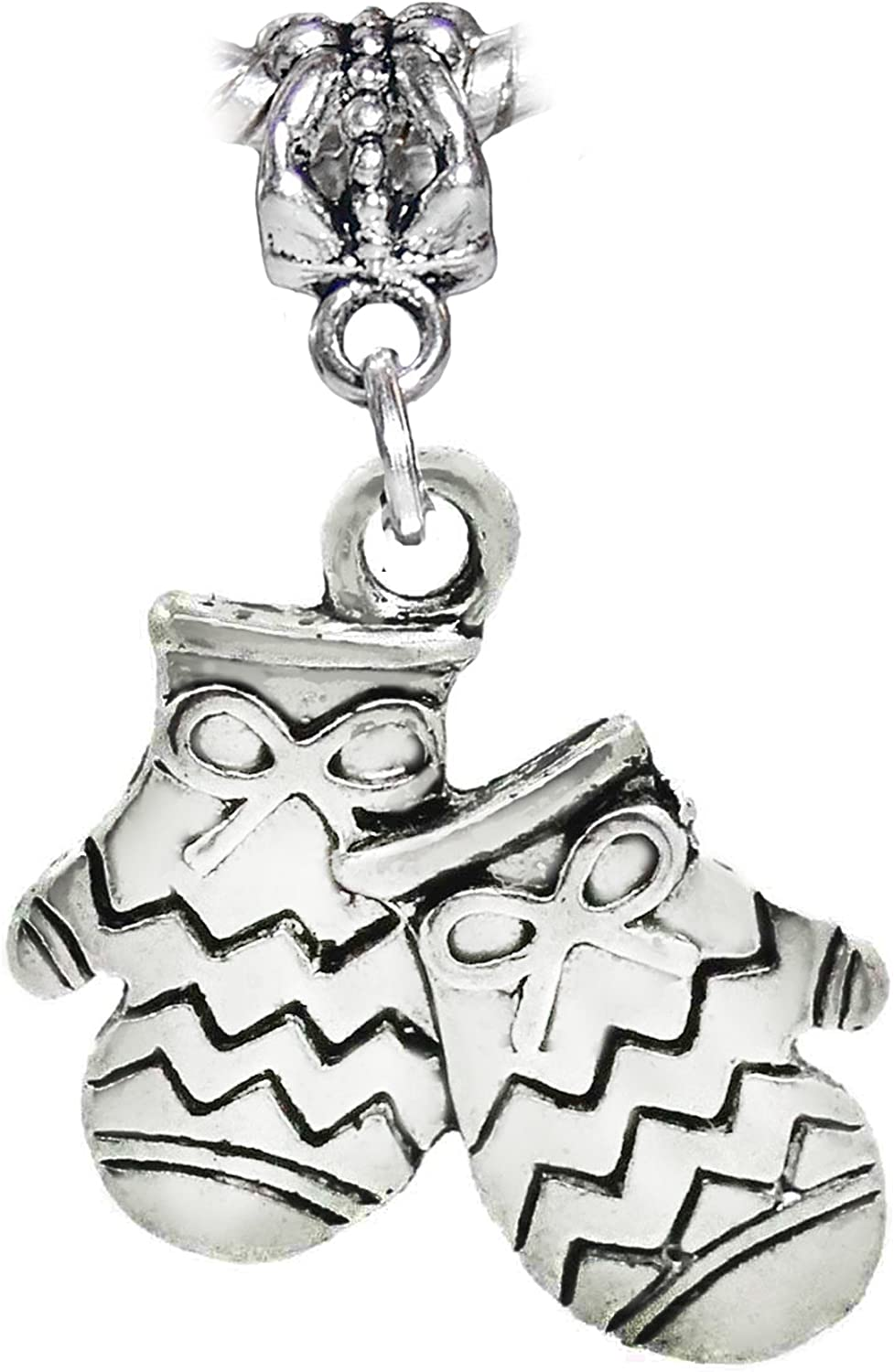 Mittens Christmas Holiday Winter Snow Dangle Charm for European Bracelets