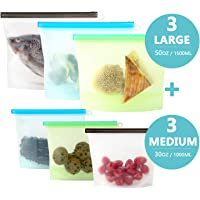 Reusable Silicone Food Storage Bags,6 Pack POPRUN Leakproof Bags Reusable Freezer Bag Sets for Vegetable, Fruit, Sandwich, Meat, Liquid, Snack -3 Large/50oz and 3 Medium/30oz