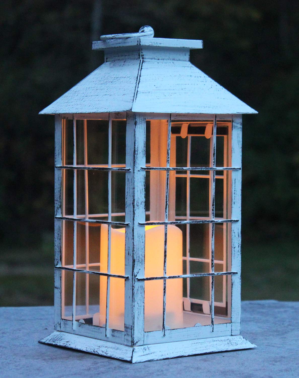 Seraphic Country Style White Rustic Metal Lantern with Flickering Flameless LED Candle