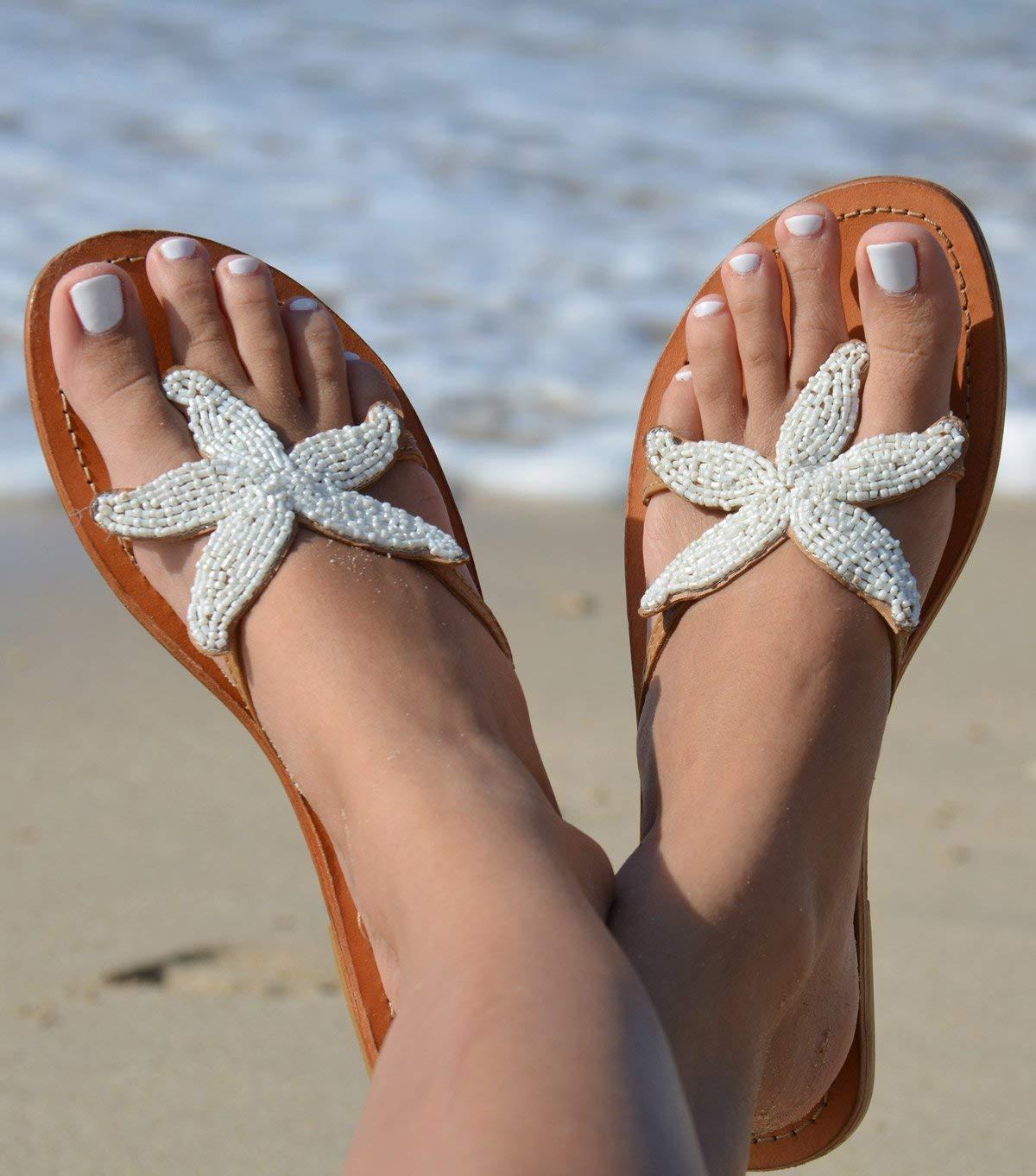 Handmade Creamy White Beaded Starfish Flip-Flop Sandals - DeluxeAdultCostumes.com