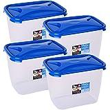 Wham Cuisine Deep Rectangular Food Storage Plastic Container, 3.2 Litre, 4 Pcs Set, Blue