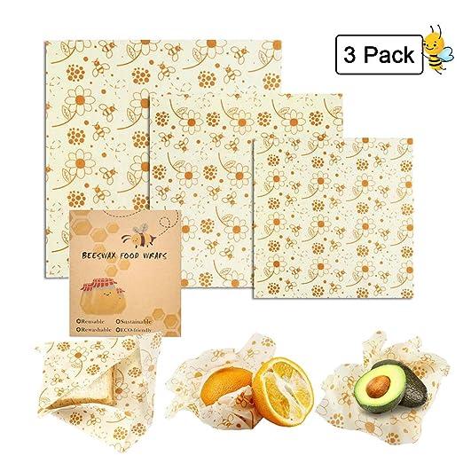 Womdee - Papel de cera reutilizable Beeswax Wraps Set con 3 unidades (1 pequeño, 1 medio, 1 grande), de crecimiento de abejas para alimentos, reutilizable, respetuoso con el medio ambiente, sostenible: Amazon.es: Hogar