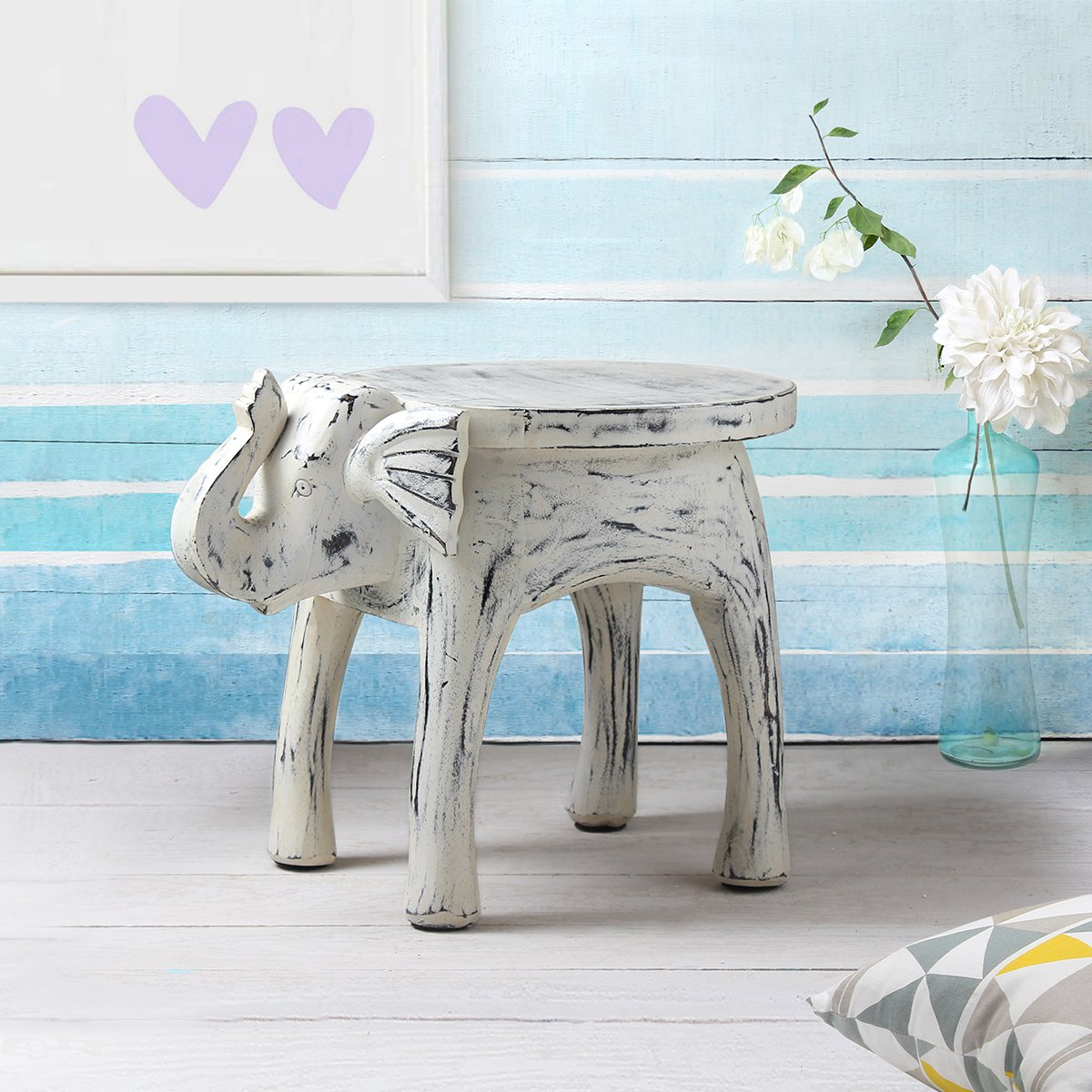 Wooden Side Table End Table Round Bedside Sofa Stool White Distressed Finish Elephant Head Design Home Kids Room Furniture Shabby Chic Decor - 18 x 13 x 14 inches by Store Indya (Image #1)