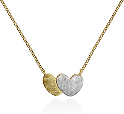 Brushed Finish Double Heart Necklace Pendant Necklace Namana Heart Pendant Necklace Gold and Silver Pendant Necklace with Gift Box.