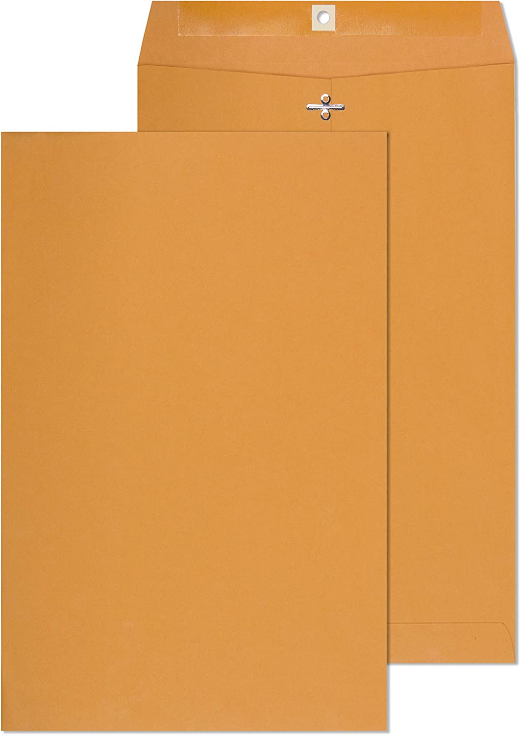 EnDoc 10 x 15 Clasp Envelopes - Brown Kraft Catalog Mailing Gummed Seal Envelope - 28lb Heavyweight 10x15 Inches Manila Envelopes for Home, Office, Business, Legal or School - 100 Pack