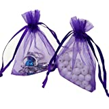Ptulip Organza Bags 4 x 6 Inch Gift Bags Organza Drawstring Pouch Jewelry Party Wedding Favor Party Festival Gift Bags Candy Bags 100pcs (Purple)