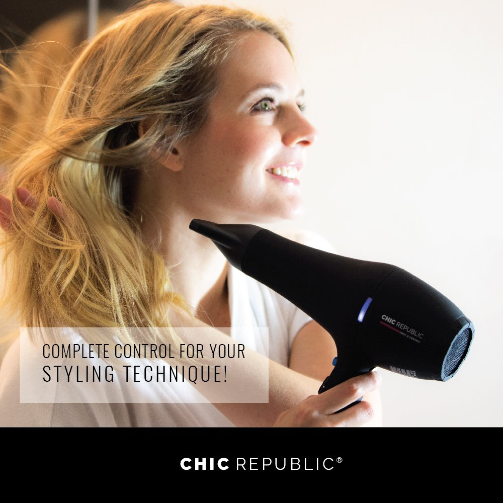 Professional Ionic Hair Dryer - Powerful Ceramic Blow Dryer - Quiet & Fast Hairdryer - Small, Ultra Lightweight Compact for Travel - 2 Diffuser Nozzles - 1875W - Premium Soft Touch Body by CHIC REPUBLIC (Image #6)