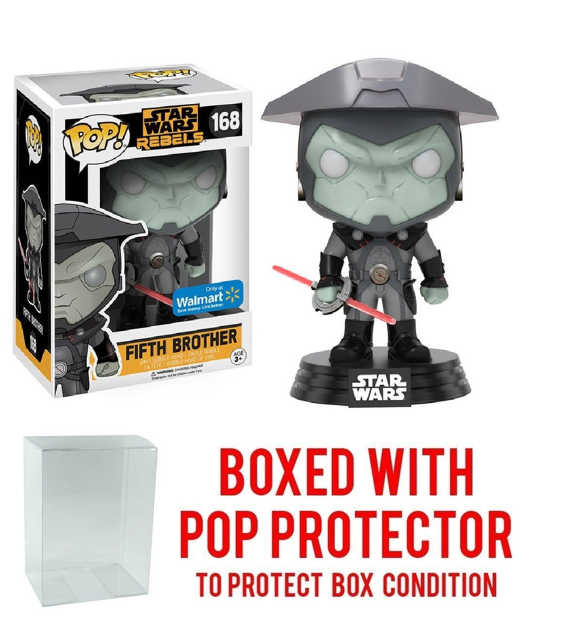 Funko Pop! Star Wars Rebels: Fifth Brother #168 (Walmart Exclusive) Vinyl Figure (Bundled with Pop BOX PROTECTOR CASE)