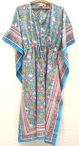 5afca0dc25 Image Unavailable. Image not available for. Color: Teal Blue Coral & Red  Chinoiserie Floral Anokhi Hand ...