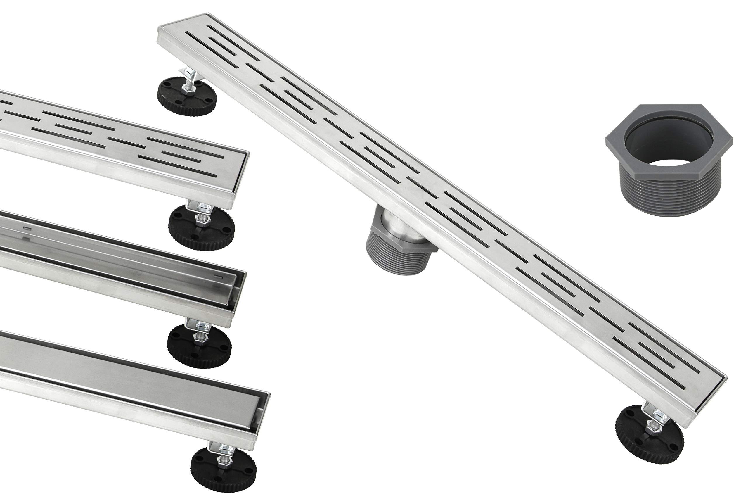 eModernDecor Shower Linear Drain 48 Inch – Stripe Pattern Grate – Brushed 304 Stainless Steel – Bonus 2-Sided Tile Insert & Flat Grate and Threaded Adaptor – Adjustable Leveling Feet