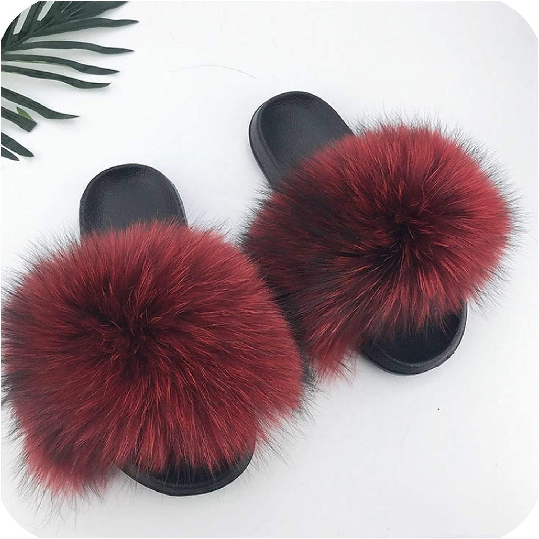 Women Fur Slides Summer Shoes